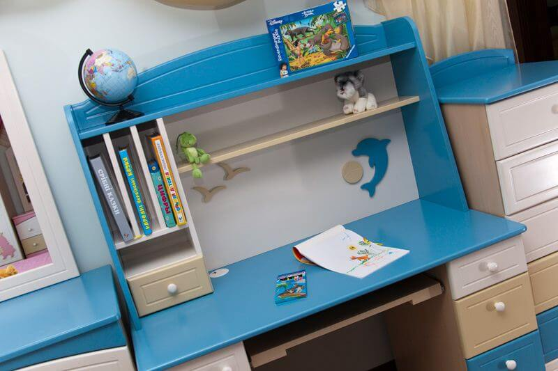 Sea&sky стол компьютерный с надстройкой ваниль/голубой/беж.